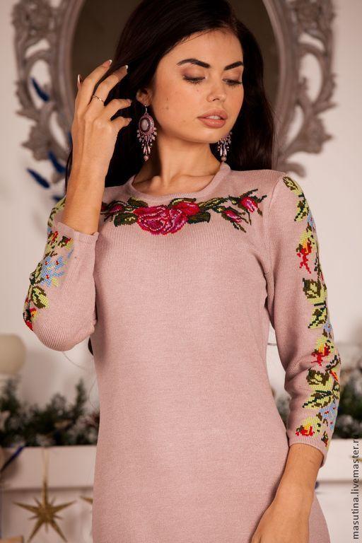 """Платья ручной работы. Ярмарка Мастеров - ручная работа. Купить Платье """"Мастерица"""". Handmade. Розовый, платье с вышивкой крестом"""