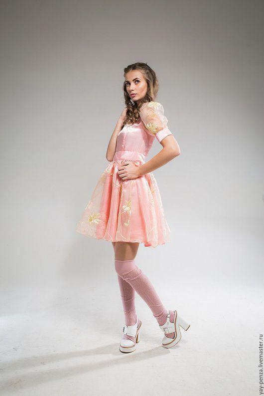 Платья ручной работы. Ярмарка Мастеров - ручная работа. Купить Платье  коктейльное арт 1380. Handmade. Бледно-розовый, цветочный