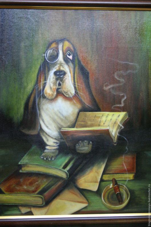"""Животные ручной работы. Ярмарка Мастеров - ручная работа. Купить Картина """"Джентльмен"""". Handmade. Коричневый, картина для интерьера, картина в гостиную"""