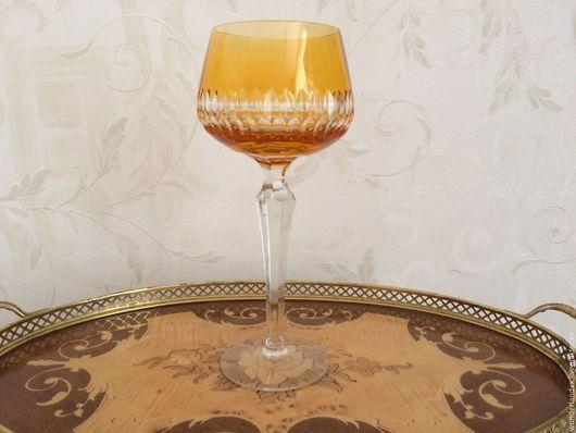 Винтажная посуда. Ярмарка Мастеров - ручная работа. Купить Бокал цветной хрусталь, ручная гравировка, Германия, Rоеmer. Handmade. Желтый