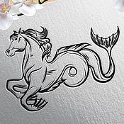 Дизайн и реклама ручной работы. Ярмарка Мастеров - ручная работа Векторная иллюстрация на заказ, уникальная. Гиппокамп и Нептун. Handmade.