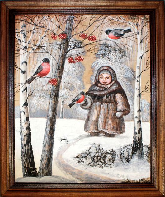 """Люди, ручной работы. Ярмарка Мастеров - ручная работа. Купить Картина на бересте """"Девочка со снегирями"""".. Handmade. Бежевый, береста"""