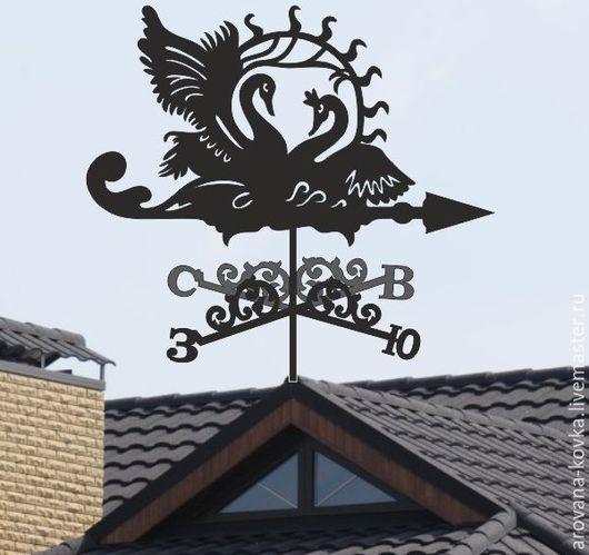 """Экстерьер и дача ручной работы. Ярмарка Мастеров - ручная работа. Купить Флюгер на крышу """"Лебеди"""". Handmade. Черный, флюгер лебеди"""