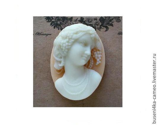 Для украшений ручной работы. Ярмарка Мастеров - ручная работа. Купить Камея Дама 3D, белый на персиковом 30х40мм (пластик) 1шт.. Handmade.