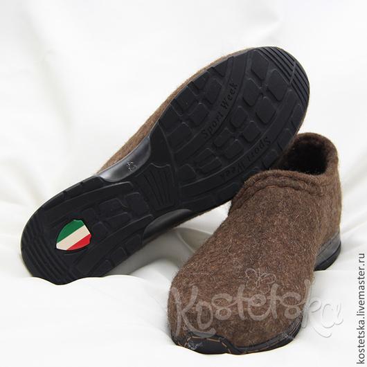 """Обувь ручной работы. Ярмарка Мастеров - ручная работа. Купить Туфли войлочные мужские """"Дон Корлеоне"""" коричневый валенки шерсть. Handmade."""