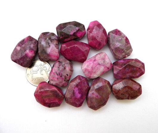 Для украшений ручной работы. Ярмарка Мастеров - ручная работа. Купить Агат 13 камней набор серый и розовый бусины с огранкой. Handmade.