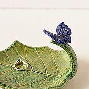 Посуда ручной работы. Ярмарка Мастеров - ручная работа Керамический лист с Синей бабочкой. Handmade.