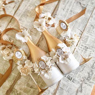 Свадебный салон ручной работы. Ярмарка Мастеров - ручная работа Свадебный набор «Бело-Золотой». Handmade.