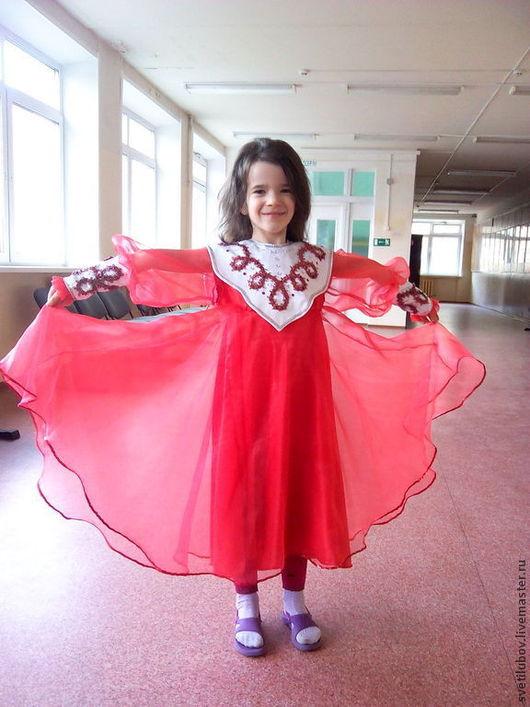 Танцевальные костюмы ручной работы. Ярмарка Мастеров - ручная работа. Купить Платье для танцев Рябинушка. Handmade. Ярко-красный, органза
