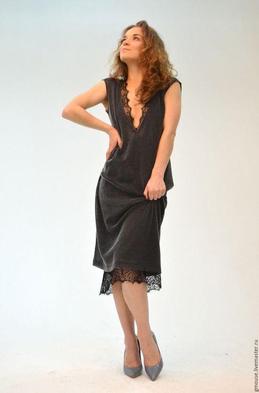 Платья ручной работы. Ярмарка Мастеров - ручная работа. Купить Вечернее платье ЗАГАДКА. Handmade. Темно-серый, черный