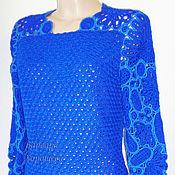 Одежда ручной работы. Ярмарка Мастеров - ручная работа Теплое вязаное платье с ажурными вставками. Handmade.