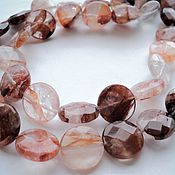 Материалы для творчества handmade. Livemaster - original item Chalcedony faceted flat beads, 16mm. Handmade.
