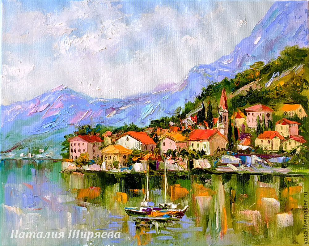 Oil painting with the sea 'of the Bay of Kotor, Montenegro', Pictures, Voronezh,  Фото №1