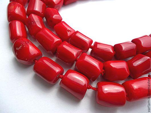 Для украшений ручной работы. Ярмарка Мастеров - ручная работа. Купить Коралл красный бусина цилиндр 10х12. Handmade. Коралл