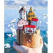"""Для дома и интерьера ручной работы. Ярмарка Мастеров - ручная работа Морская композиция """"Обитаемый островок"""" driftwood. Handmade."""