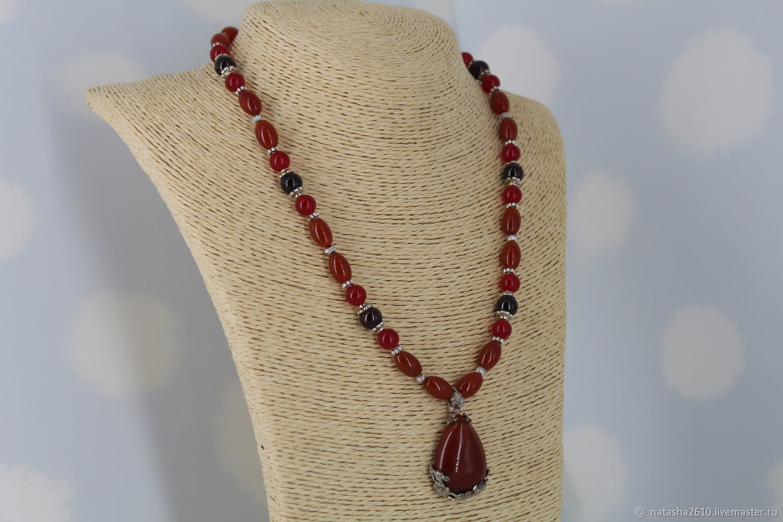 Necklace with a pendant of carnelian and garnet ' Carom', Necklace, Velikiy Novgorod,  Фото №1