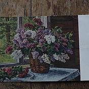 Винтаж handmade. Livemaster - original item Postcard 1955. Lilac at the window. Artist-Konchalovsky P. P.. Handmade.