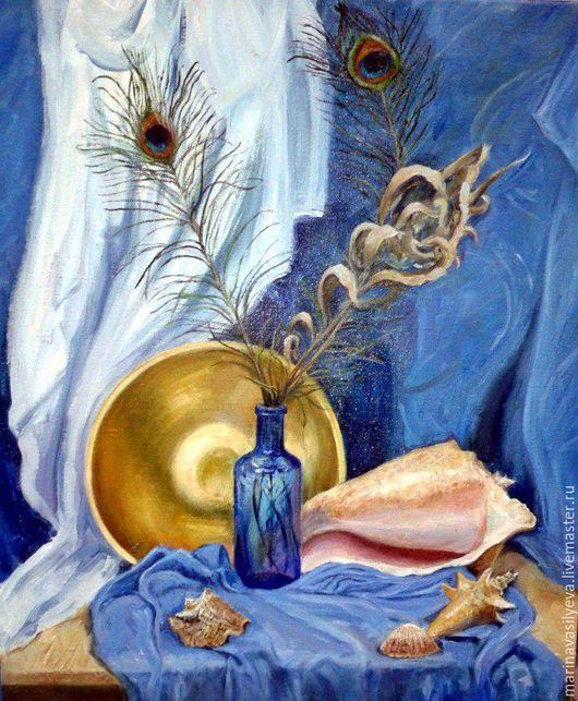 """Натюрморт ручной работы. Ярмарка Мастеров - ручная работа. Купить Картина маслом """"Натюрморт с павлиньими перьями"""". Handmade. Голубой"""