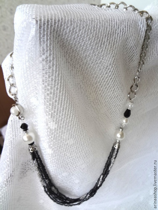 Ожерелье `Серебро на черном` длина 66 см. Застежка для бус `под жемчуг`