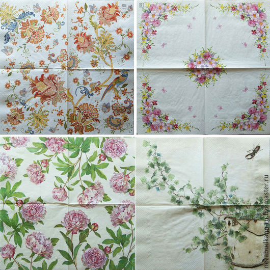 Слева направо сверху вниз: «Радужный попугай» - 229 «Цветы» - 222 «Пионы» - 221 «Ведро с плющом» - 224