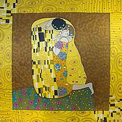 Аксессуары ручной работы. Ярмарка Мастеров - ручная работа Платок батик Поцелуй Климта. Handmade.