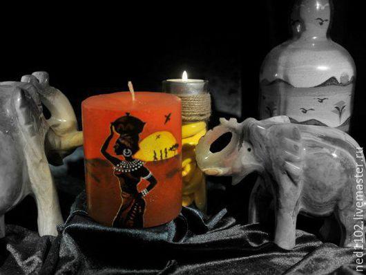 """Свечи ручной работы. Ярмарка Мастеров - ручная работа. Купить """"Африканские истории"""" Свеча ручной работы с росписью. Handmade."""
