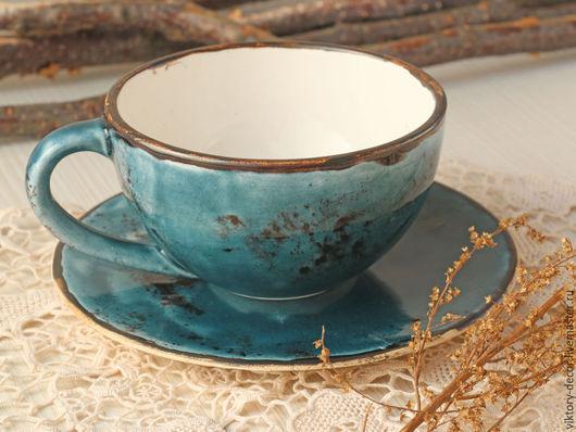 Кружки и чашки ручной работы. Ярмарка Мастеров - ручная работа. Купить Керамическа чашка Глубокий бирюзовый. Handmade. Бирюзовый