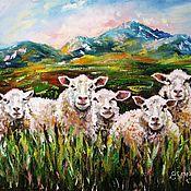 Картины и панно ручной работы. Ярмарка Мастеров - ручная работа Пейзаж маслом на холсте Горы Альпы Овцы Картина с горами и овцами. Handmade.
