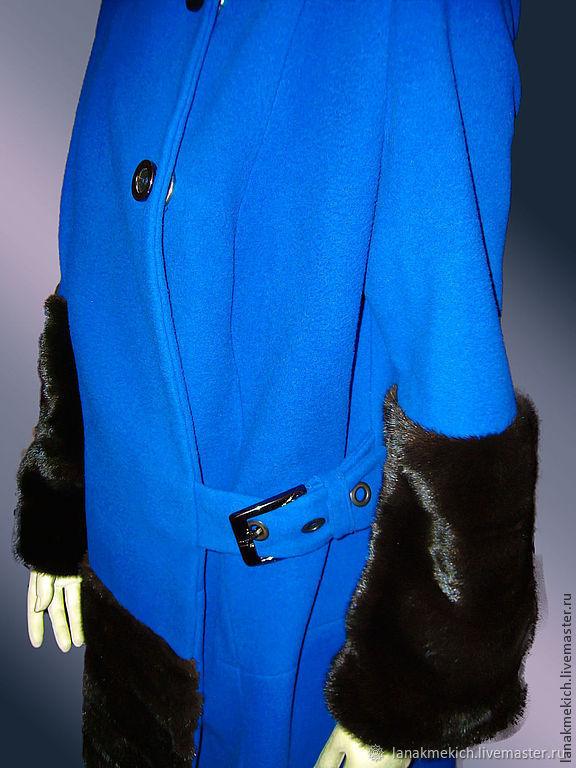 Blue coat with mink fur 'Fantasy', Coats, Moscow,  Фото №1