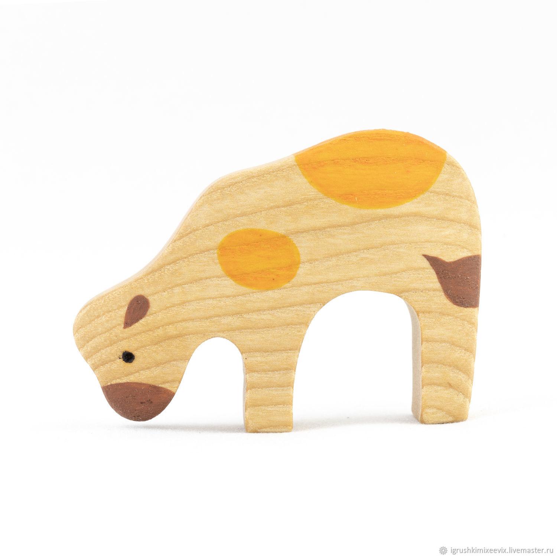 Теленок наклоненный, деревянная  развивающая игрушка, Вальдорфские куклы и звери, Смоленск,  Фото №1
