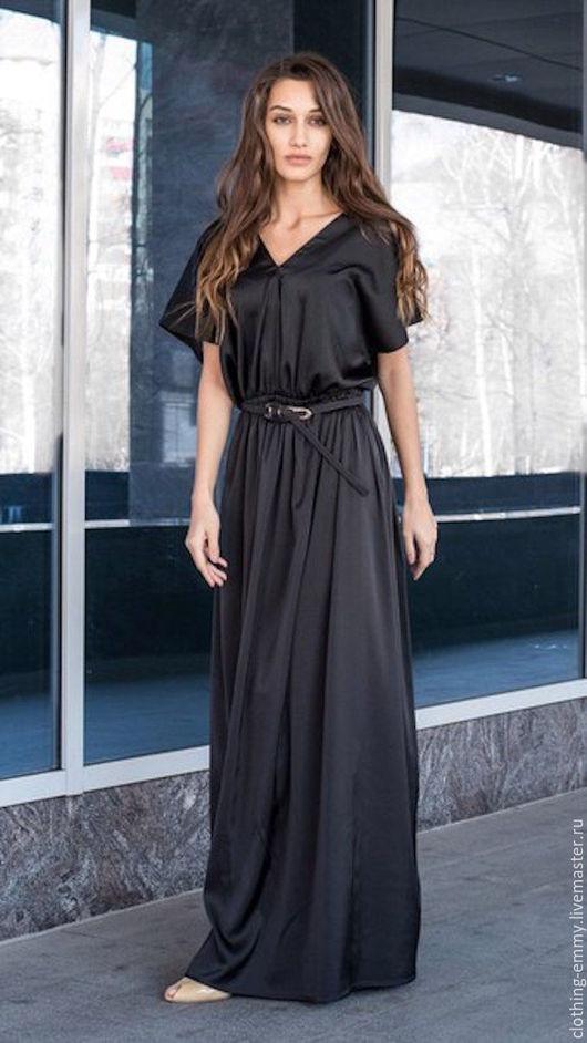 Платья ручной работы. Ярмарка Мастеров - ручная работа. Купить Платье V-вырез черное. Handmade. Черный, платье