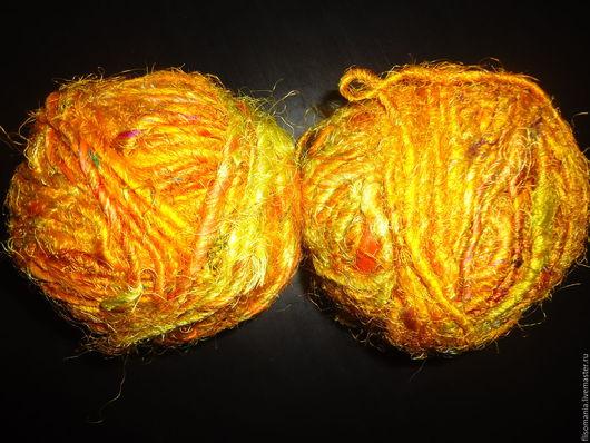 Валяние ручной работы. Ярмарка Мастеров - ручная работа. Купить Пряжа Сари, 5 м. Handmade. Желтый, пряжа сари