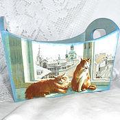 Для дома и интерьера ручной работы. Ярмарка Мастеров - ручная работа Короб для хранения Городские коты. Handmade.