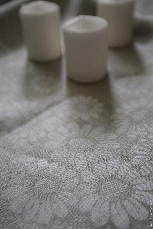 """Текстиль, ковры ручной работы. Ярмарка Мастеров - ручная работа. Купить Льняная скатерть """"Ромашки"""" серый. Handmade. Серый, ромашки"""