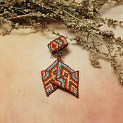 Комплект украшений из бисера серьги кольца Саламандра