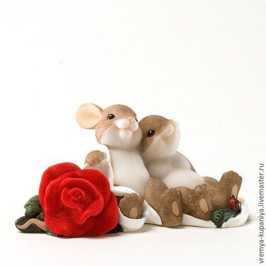 """Материалы для косметики ручной работы. Ярмарка Мастеров - ручная работа. Купить Силиконовая форма для мыла  """"Два мышонка с розой"""". Handmade."""