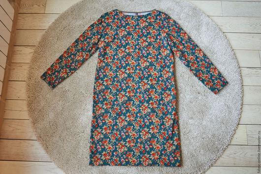 Платья ручной работы. Ярмарка Мастеров - ручная работа. Купить Платье прямое из зеленого хлопка с цветами и листьями горчичный. Handmade.