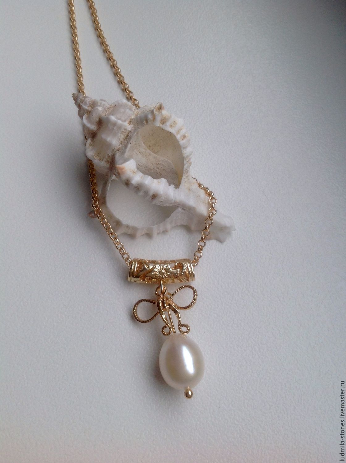 Gold plated chain with a pendant 'Rusalkina teardrop', Pendants, Moscow,  Фото №1