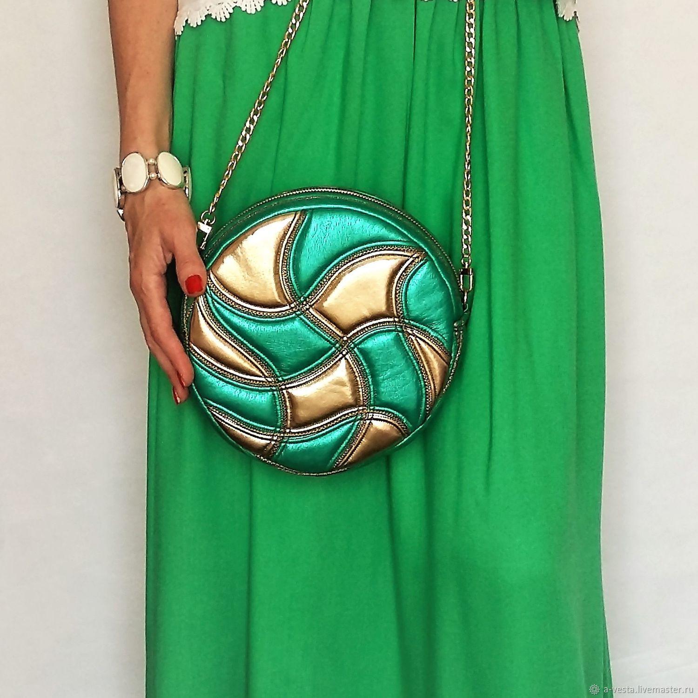 Yin&Yang bag, round, gold, emerald, Crossbody bag, Saratov,  Фото №1
