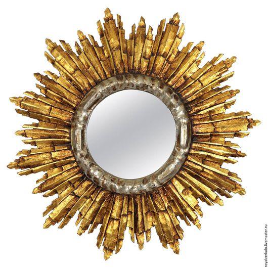 зеркало солнце. круглое резное зеркало. состаренное зеркало. настенный декор купить
