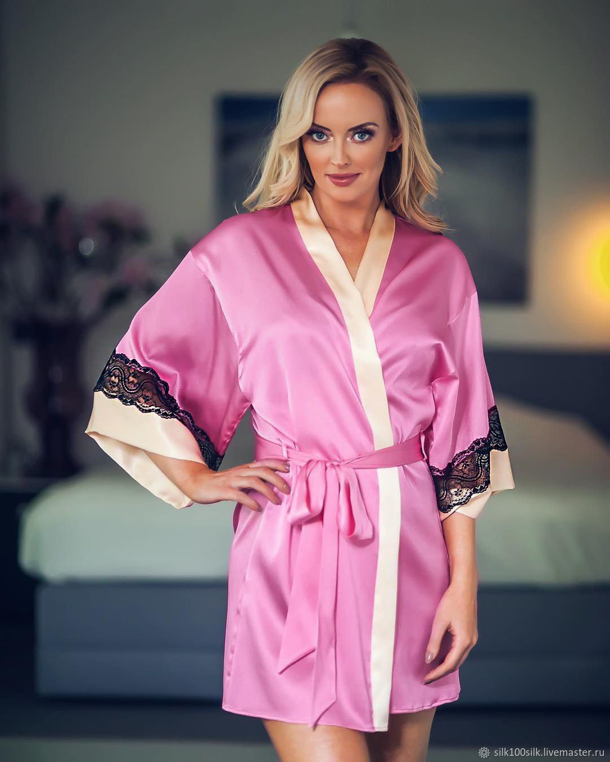 Home robe silk 100% pink with lace Gift to your wife, Robes, St. Petersburg,  Фото №1