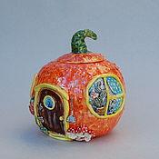 Посуда handmade. Livemaster - original item fairy house. Pumpkin-sugar bowl. Handmade.