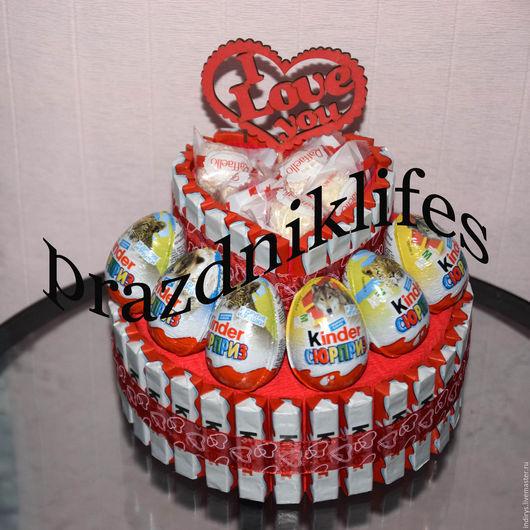Персональные подарки ручной работы. Ярмарка Мастеров - ручная работа. Купить Киндер торт - для влюбленных, на 14 февраля. Handmade. Разноцветный