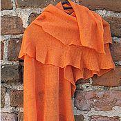 Аксессуары ручной работы. Ярмарка Мастеров - ручная работа Шарф льняной Оранжевый 60 x 155cm. Handmade.