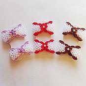 Украшения ручной работы. Ярмарка Мастеров - ручная работа Заколки вязаные для девочек. Бантики 3 цвета, на резинке. Handmade.