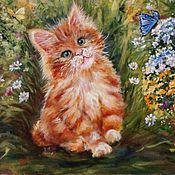 Картины и панно handmade. Livemaster - original item Oil painting: Red sun (kitten)40-50. Handmade.