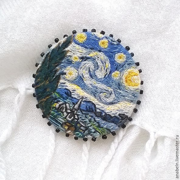 Embroidered brooch based on the painting'the Starry night by Vincent van Gogh, Brooches, Kemerovo,  Фото №1