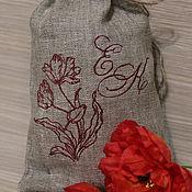 Сувениры и подарки ручной работы. Ярмарка Мастеров - ручная работа Льняной мешочек Ретро с вышивкой. Handmade.