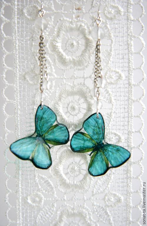 """Серьги ручной работы. Ярмарка Мастеров - ручная работа. Купить """"Бабочки цвета морской волны"""" Прозрачные серьги. Handmade."""