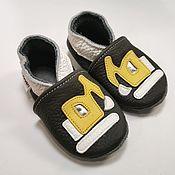 Одежда детская handmade. Livemaster - original item Yellow Excavator, Truck Baby Shoes, Dark Gray Baby Boy Moccasins. Handmade.